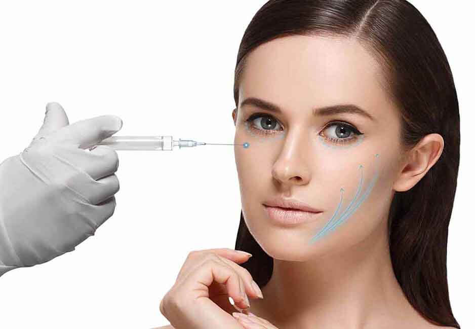 Woman being injected with fillers