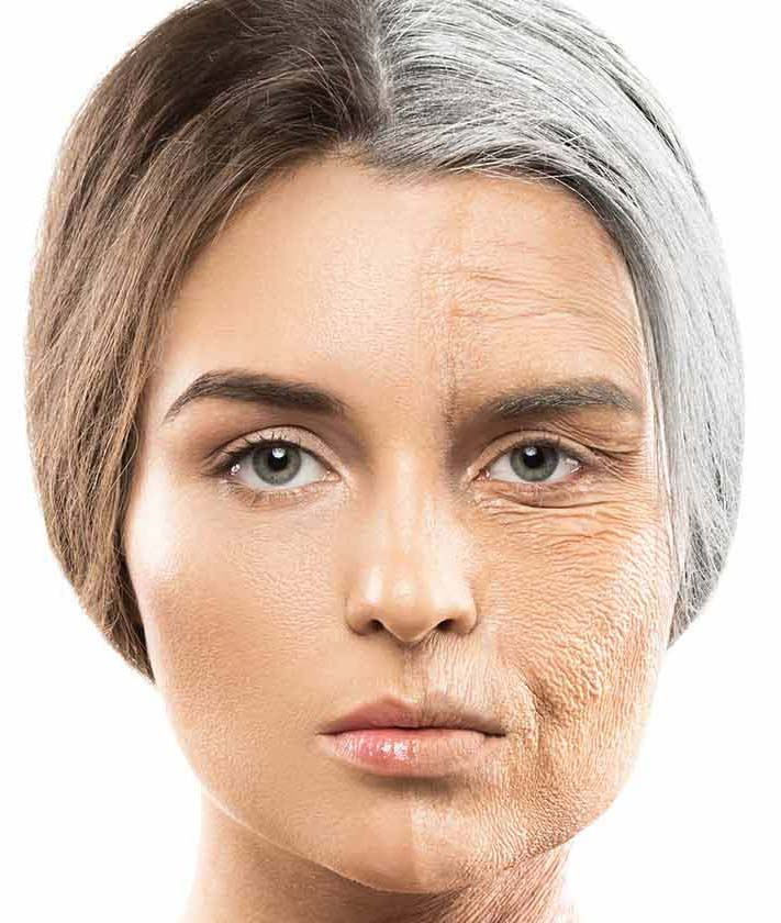 Young and elderly woman face